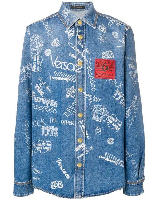 メンズ Versace プリント デニムシャツ Blue