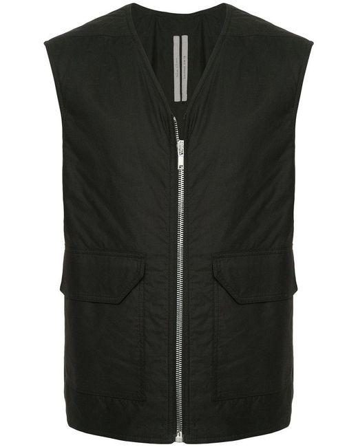 4c68cebdf47057 Rick Owens - Black Sleeveless Zipped Vest for Men - Lyst ...