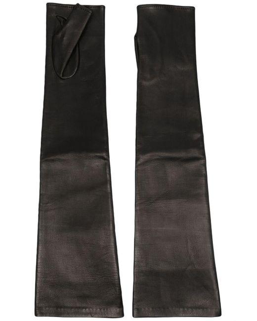 Manokhi レザー フィンガーレスグローブ Black