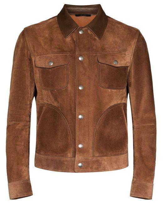 メンズ Tom Ford スナップボタン ジャケット Brown