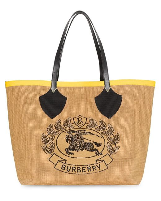 Burberry Yellow Beige Giant Tote In Knitted Archive Crest