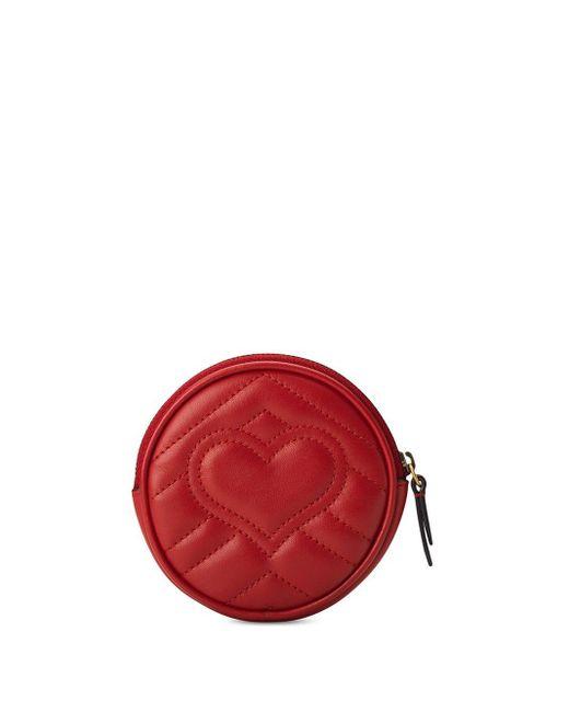 Mini borsa a spalla rotonda GG Marmont di Gucci in Red