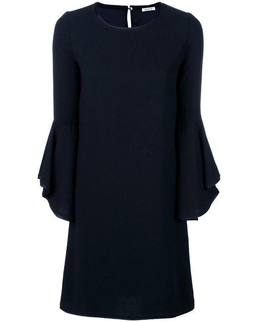 P.A.R.O.S.H. - Blue Frill Sleeve Shift Dress - Lyst
