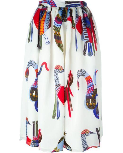 MSGM プリント柄フレアスカート Multicolor
