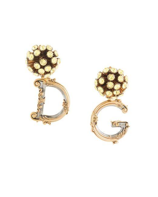 Dolce & Gabbana Metallic Logo Pendant Earrings