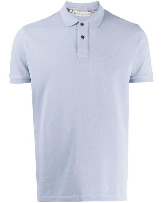 メンズ Etro ロゴ ポロシャツ Blue