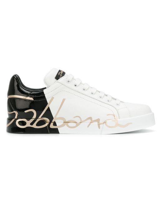 Dolce & Gabbana Portofino Low Top Sneakers Van Leer in het White