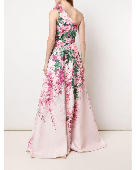 Marchesa notte ワンショルダー ドレス Pink
