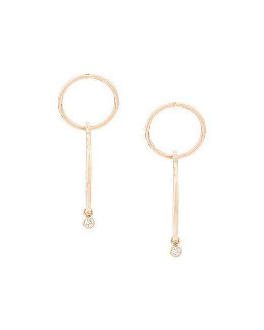 Золотые Круглые Серьги С Бриллиантами Zoe Chicco, цвет: Metallic