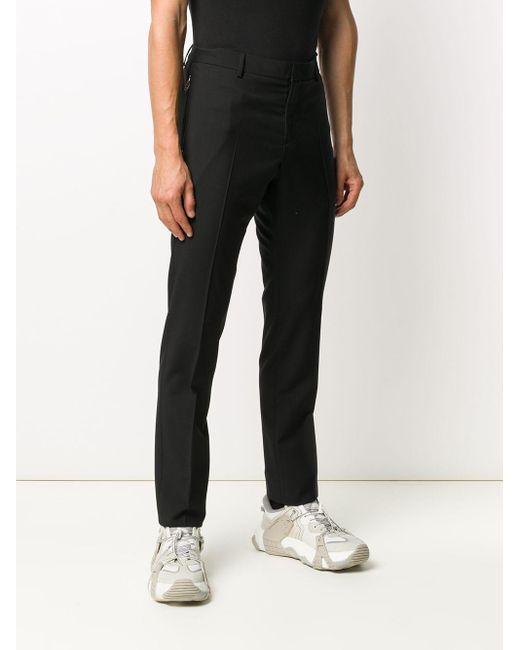 Valentino Black Slim-fit Wool Trousers for men