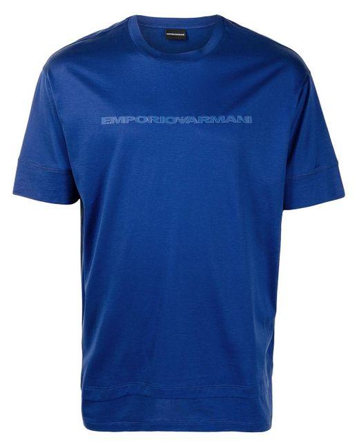 メンズ Emporio Armani レイヤードディテール Tシャツ Blue
