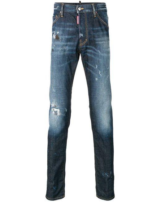 DSquared² Twins Verschoten Jeans in het Blue voor heren