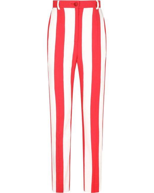 Dolce & Gabbana ストライプ ハイウエストパンツ Red