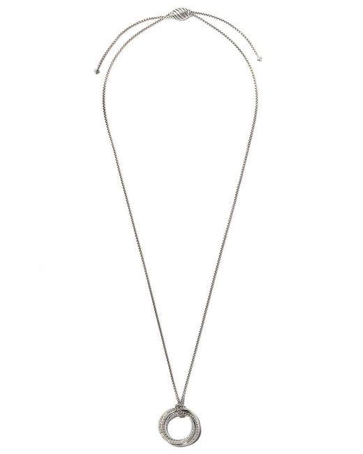 David Yurman - Metallic Crossover Diamond Pendant Necklace - Lyst