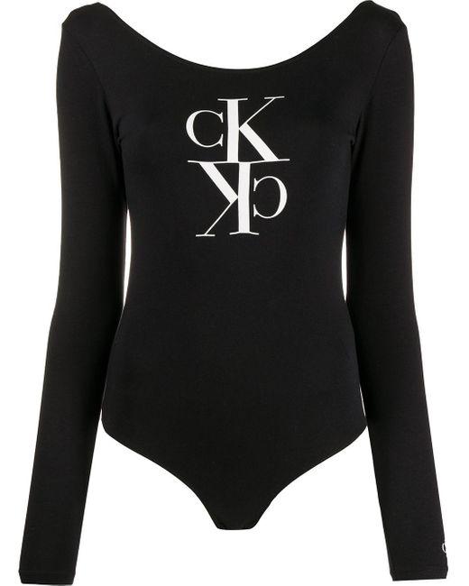 Calvin Klein モノグラム ボディスーツ Black