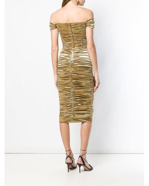 Dolce & Gabbana シャーリング ミディドレス Metallic