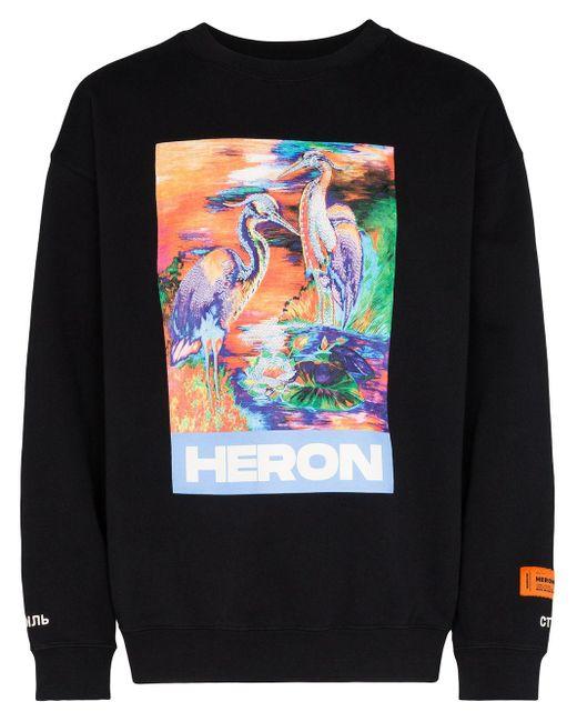 メンズ Heron Preston プリント ロングtシャツ Black