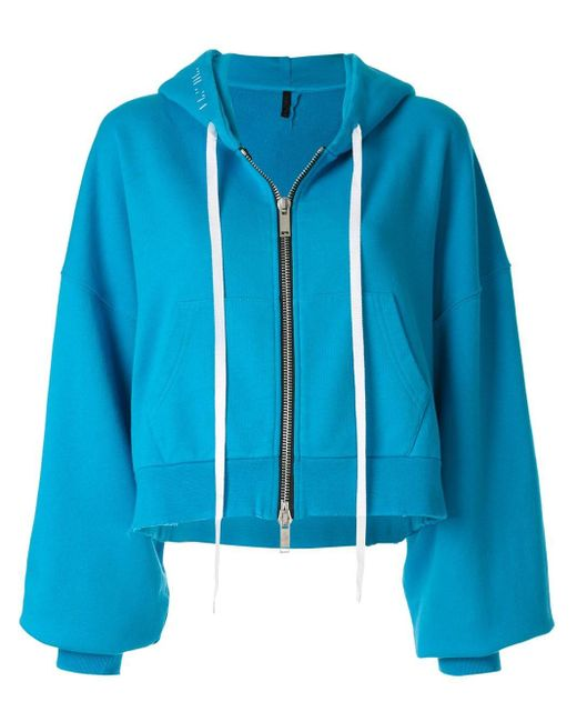 Unravel Project Blue Hooded Bomber Jacket