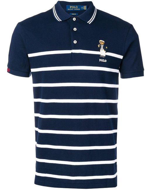 Polo Men's Striped Bear Blue Shirt clKJT1F3