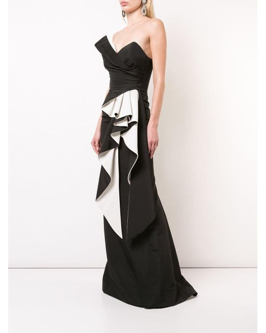 Rubin Singer Silk Side Peplum Evening Dress In Black Lyst