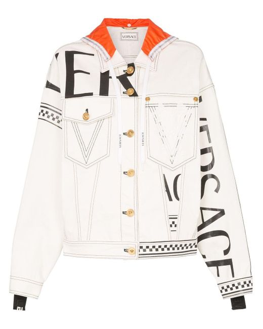 Versace White Logo Print Hooded Denim Jacket