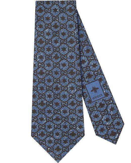 Gucci - Blue Corbata con GG y motivo de abejas y estrellas for Men - Lyst