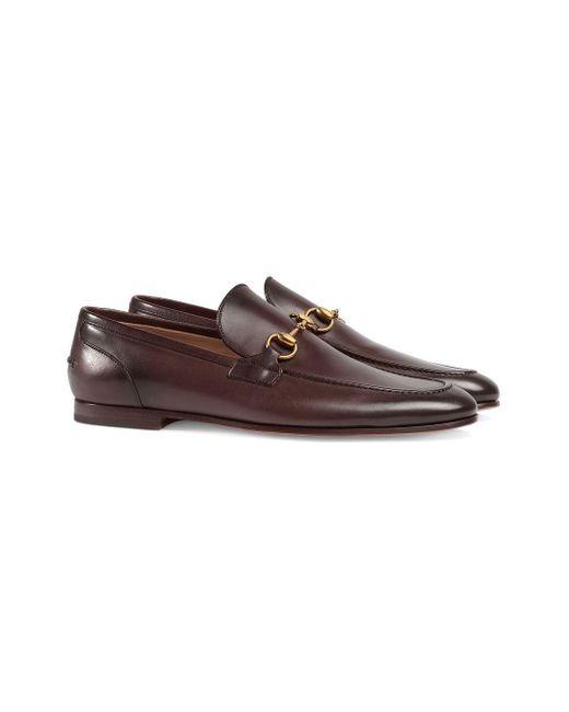 Horsebit Leather Loafers Gucci для него, цвет: Brown