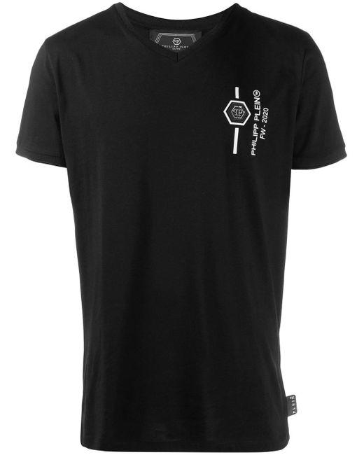 メンズ Philipp Plein Platinum スカル Tシャツ Black