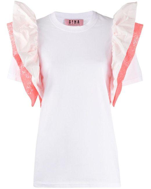 Gina Camiseta con mangas con volante de mujer de color blanco k646a
