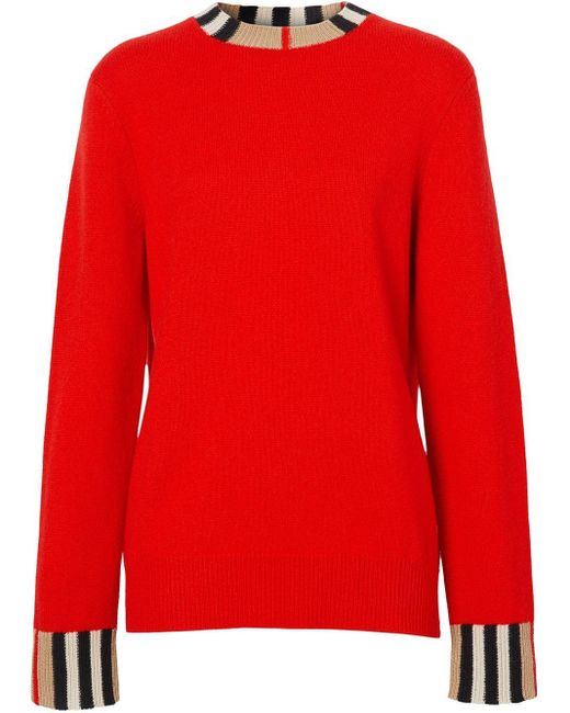 Burberry カシミア アイコンストライプトリム セーター Red
