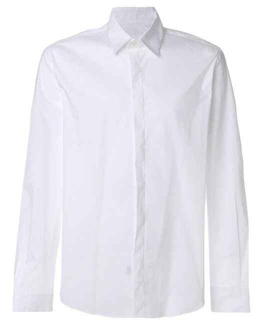 Low Brand - White Concealed Button Shirt for Men - Lyst