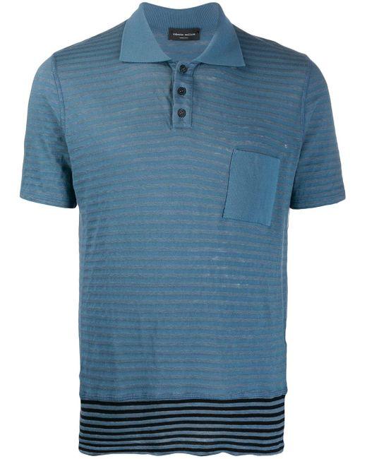 メンズ Roberto Collina ストライプ ポロシャツ Blue