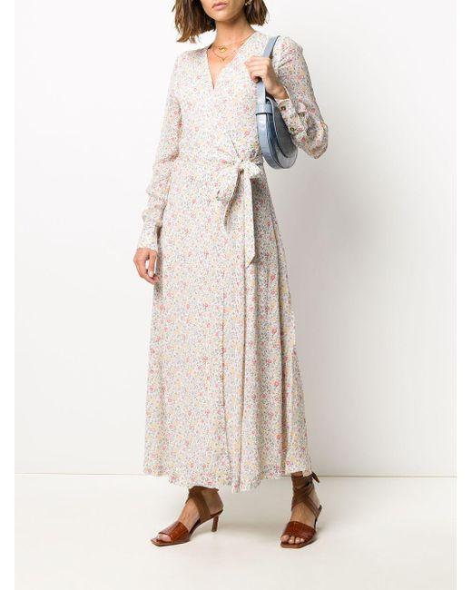 Ganni フローラル ラップドレス Natural