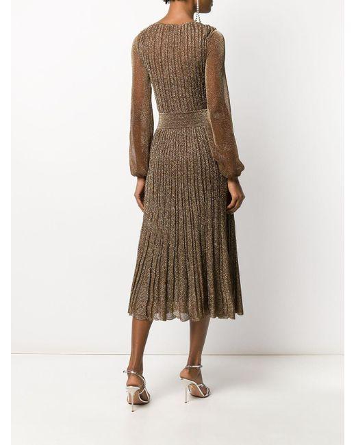 Robe mi-longue plissée Missoni en coloris Metallic
