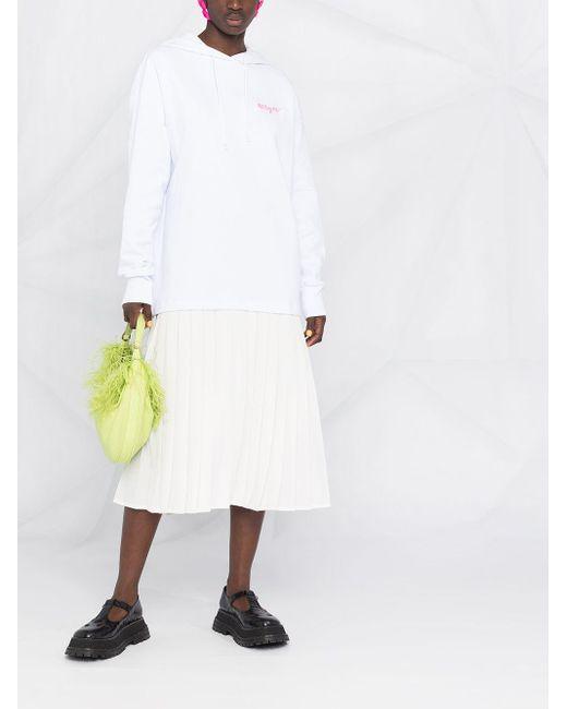 MSGM プリーツ フーデッドドレス White