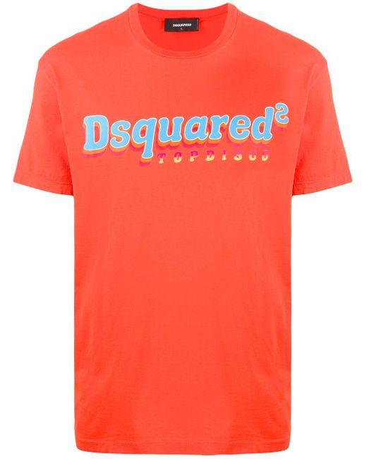 メンズ DSquared² ロゴ Tシャツ Orange