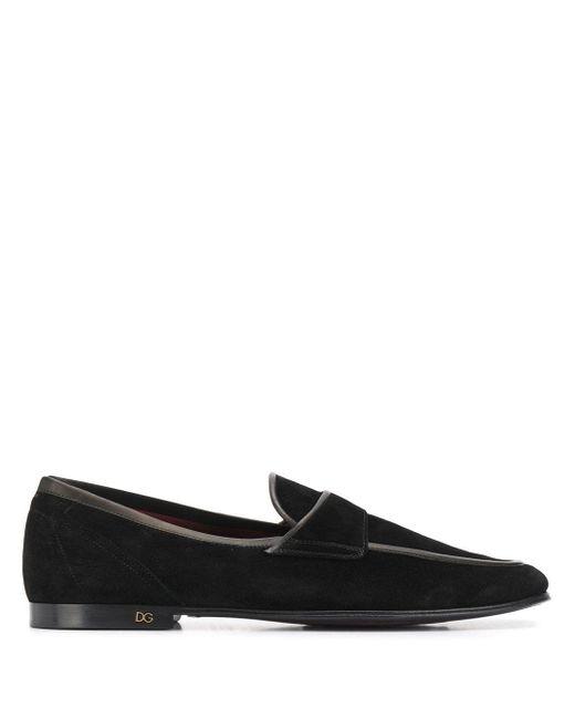メンズ Dolce & Gabbana コントラストトリム ローファー Black