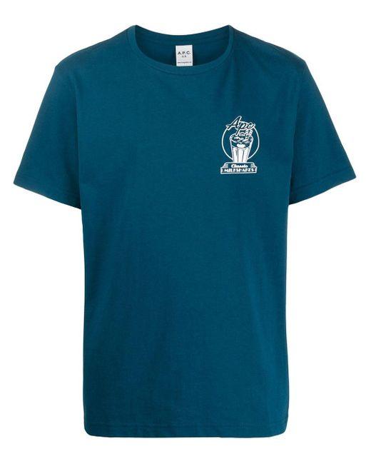 メンズ A.P.C. プリント Tシャツ Blue