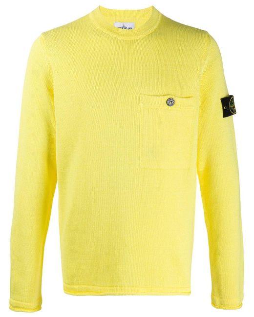 メンズ Stone Island クルーネック セーター Yellow
