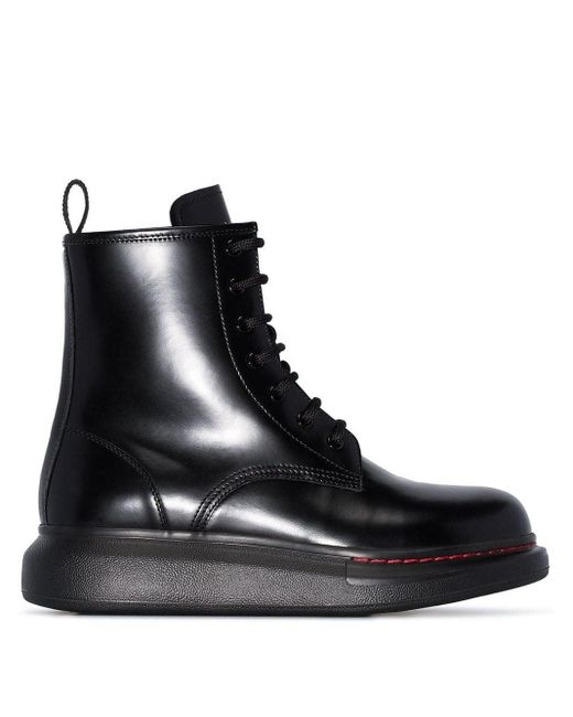 Alexander McQueen Black Hybrid Leather Ankle Boots