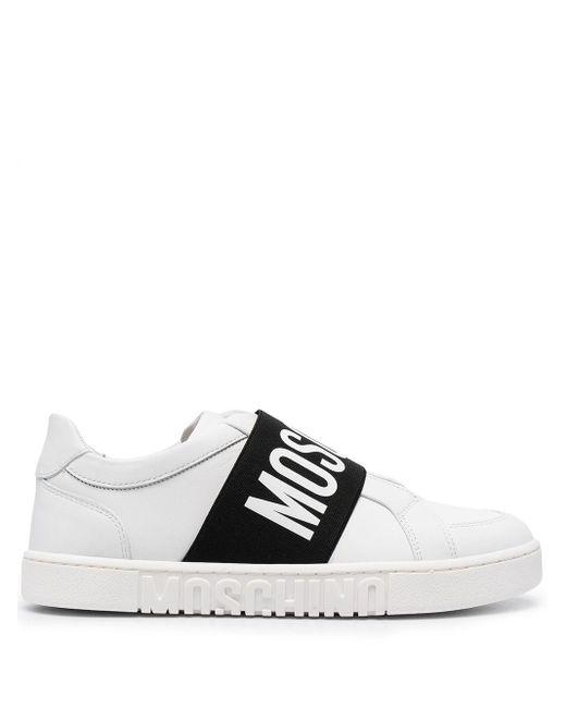 Moschino White Logo-strap Sneakers