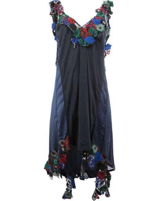 Sacai Blue Floral Embellished Asymmetric Dress
