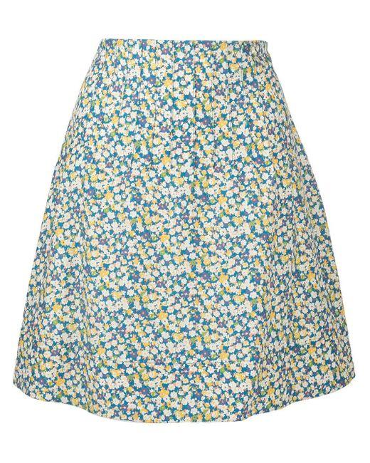 A.P.C. フローラル Aラインスカート Blue