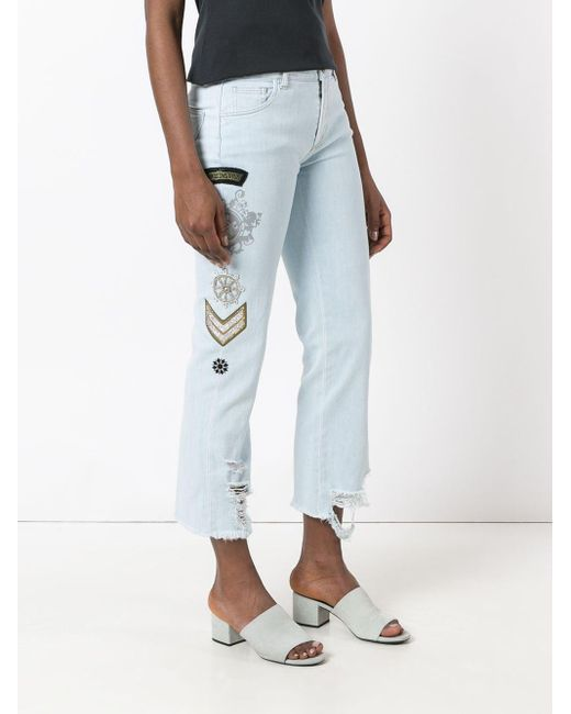Embellished multi-patch jeans di Mr & Mrs Italy in Blue