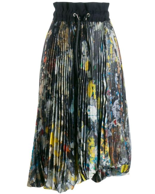 Sacai プリーツ ミディスカート Multicolor