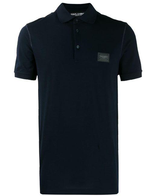 メンズ Dolce & Gabbana ロゴパッチ ポロシャツ Blue