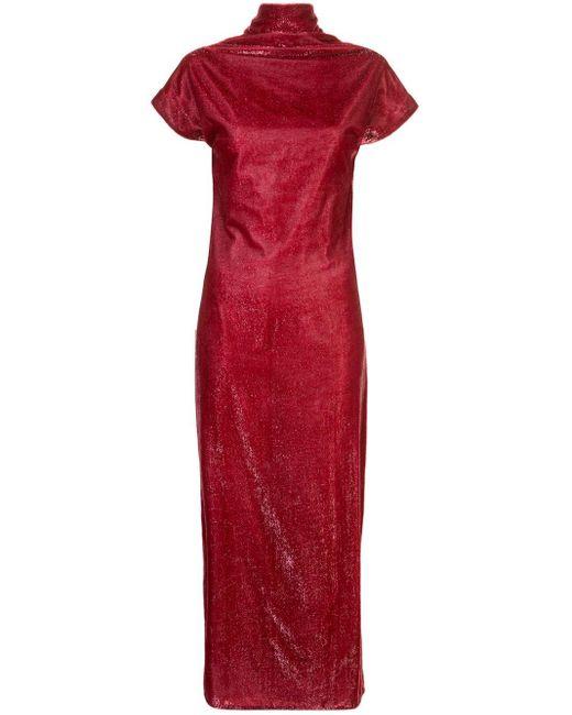 Paula Knorr ベルベット ドレープドレス Red