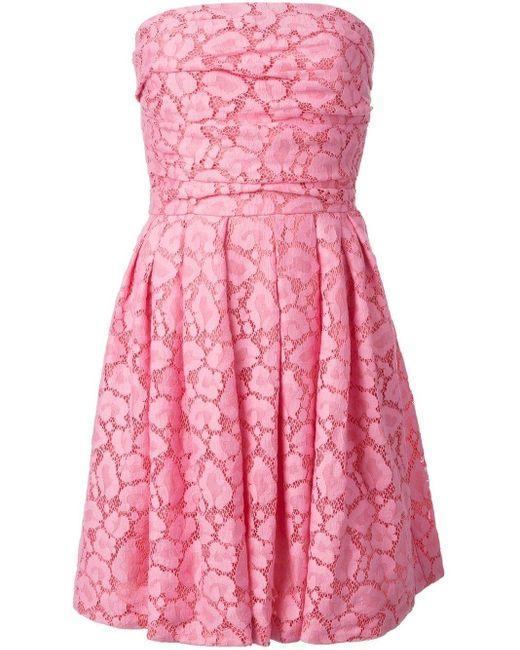 Boutique Moschino ストラップレス レースワンピース Pink