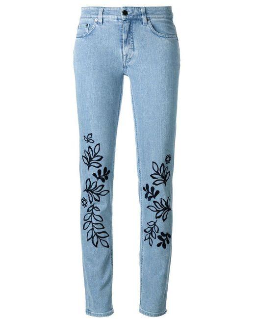 Victoria, Victoria Beckham 刺繍スリムジーンズ Blue