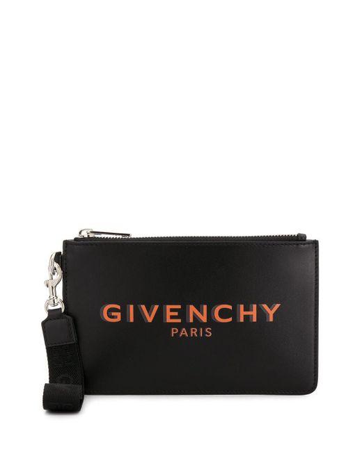 Givenchy Black Logo-print Clutch Bag for men